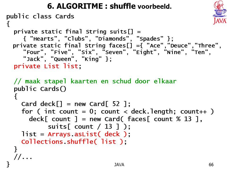 6. ALGORITME : shuffle voorbeeld.