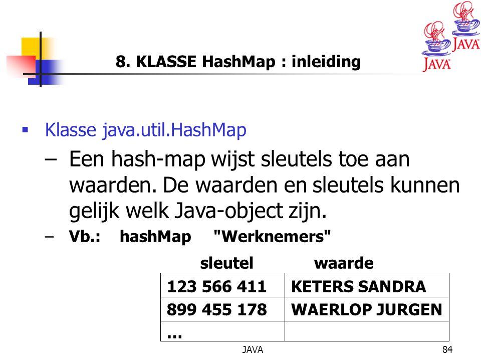 8. KLASSE HashMap : inleiding