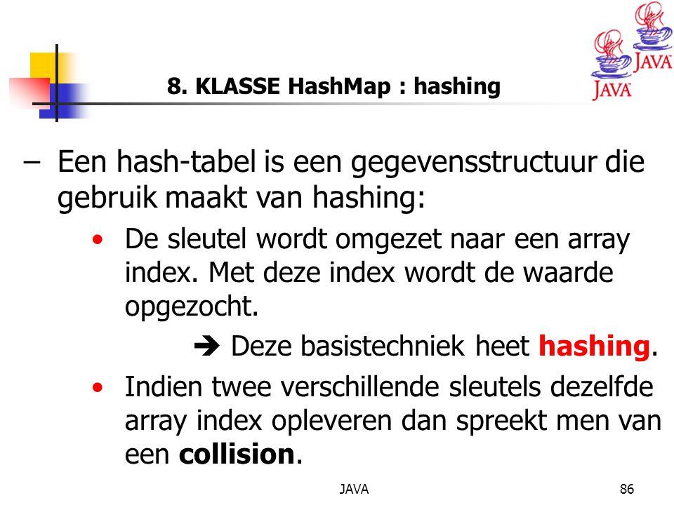 8. KLASSE HashMap : hashing