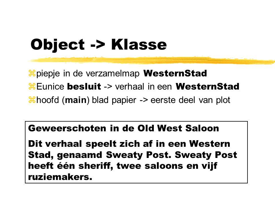 Object -> Klasse piepje in de verzamelmap WesternStad