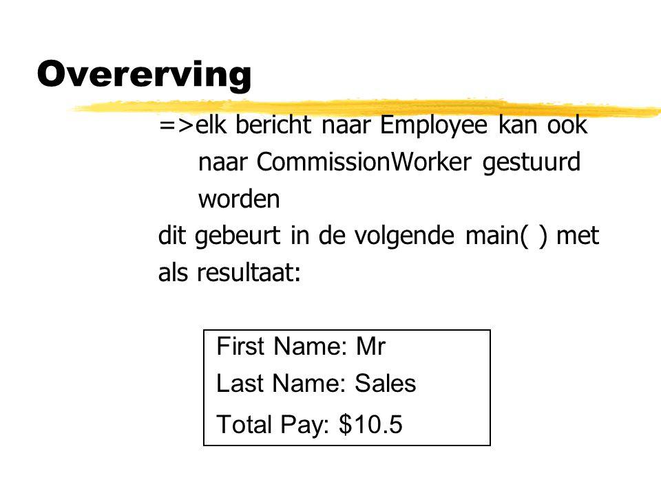 Overerving =>elk bericht naar Employee kan ook