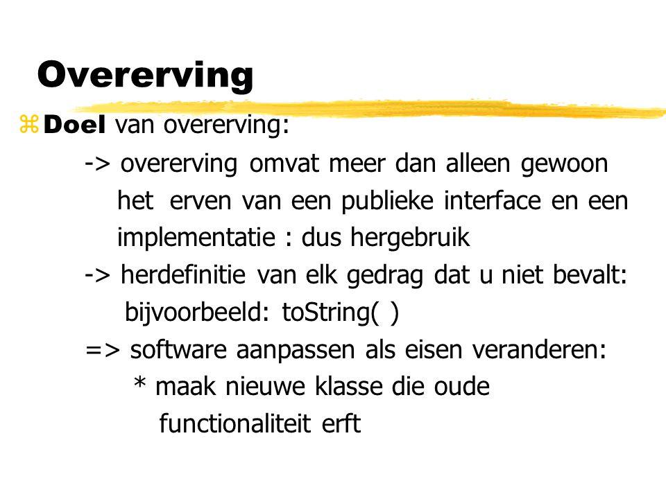 Overerving Doel van overerving: