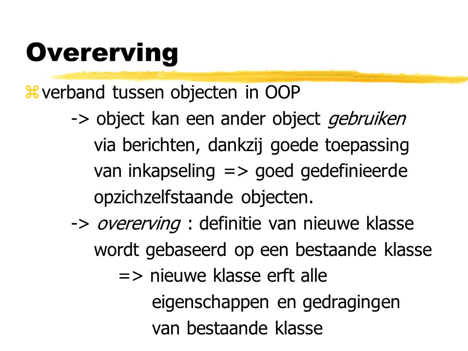Overerving verband tussen objecten in OOP