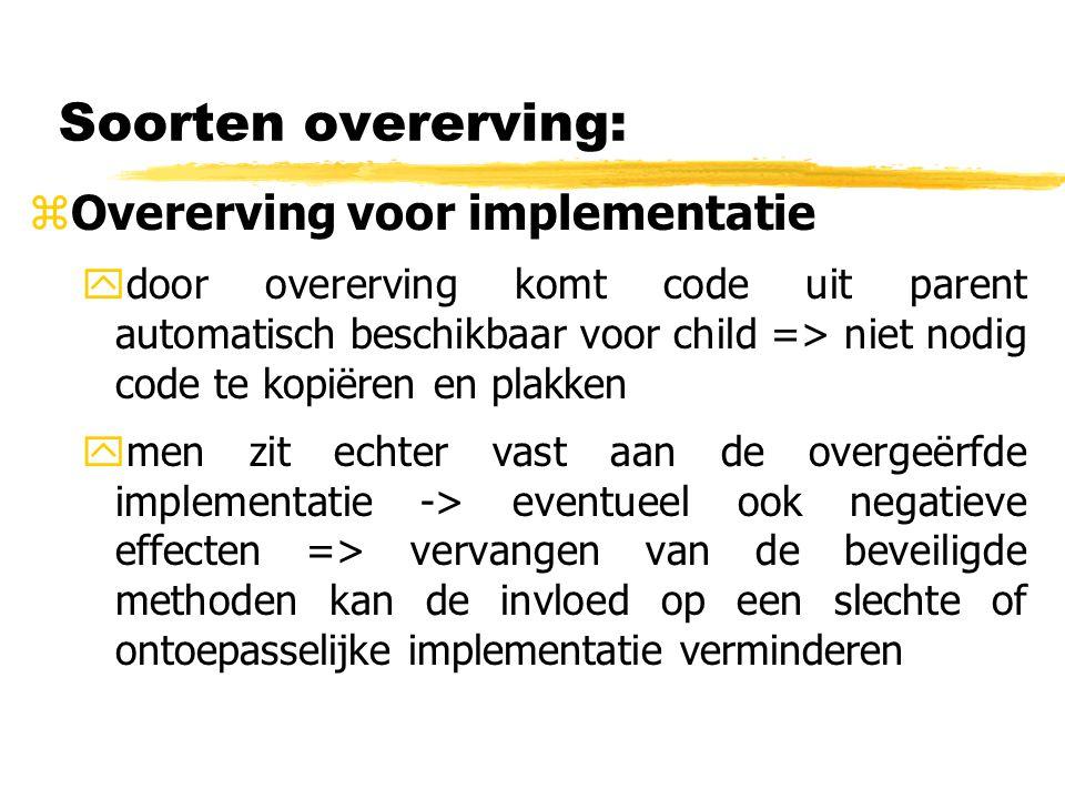Soorten overerving: Overerving voor implementatie