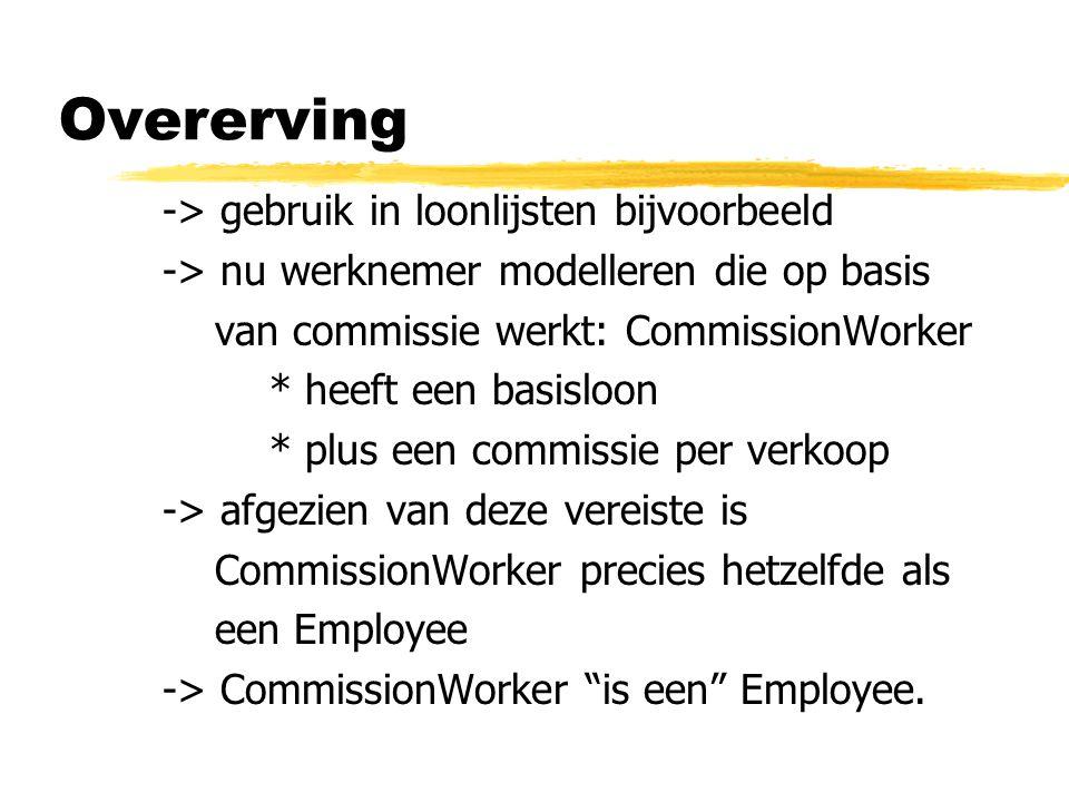 Overerving -> gebruik in loonlijsten bijvoorbeeld