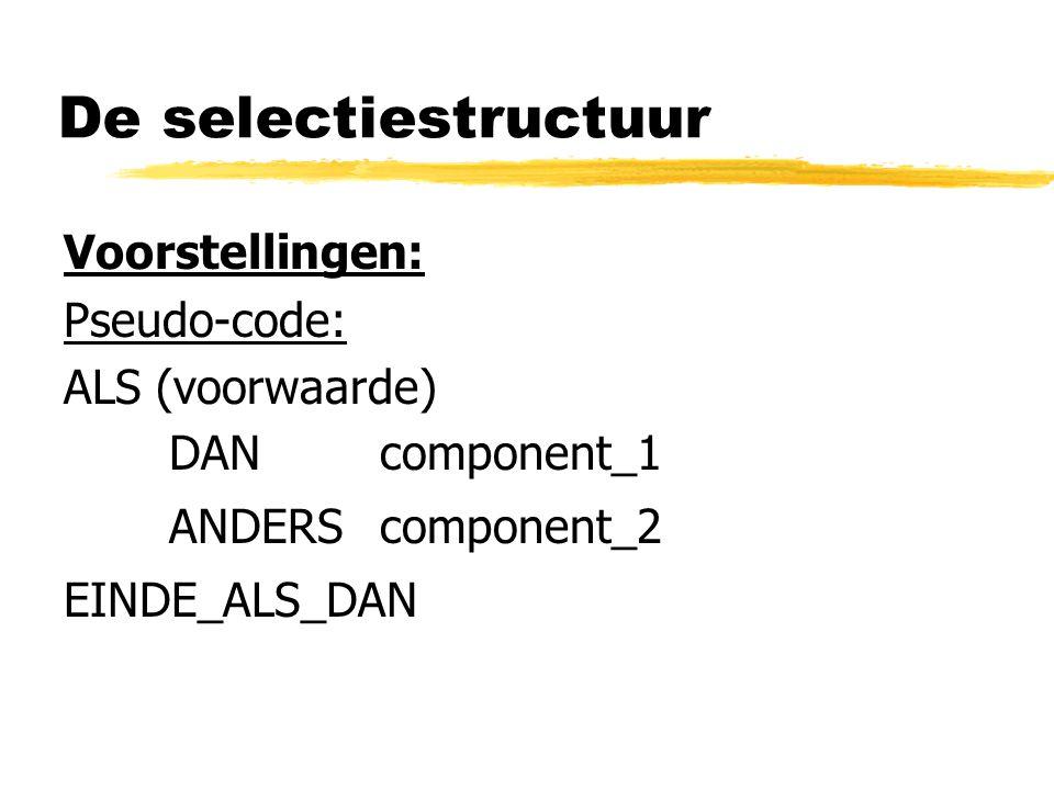 De selectiestructuur Voorstellingen: Pseudo-code: ALS (voorwaarde)