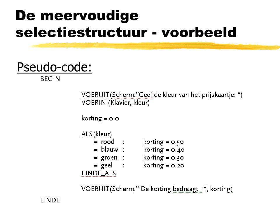 De meervoudige selectiestructuur - voorbeeld
