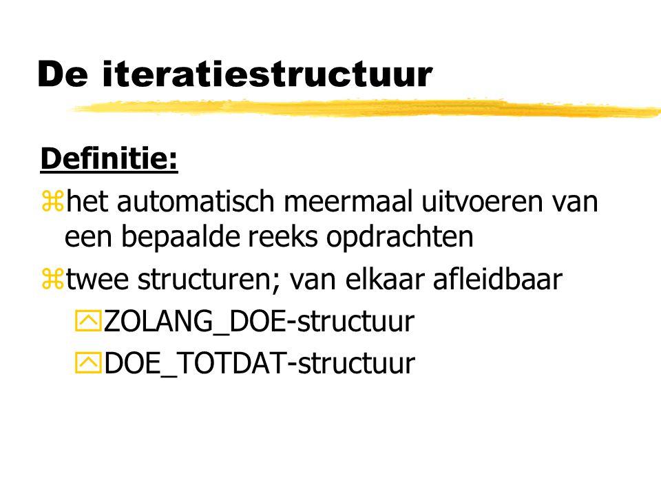 De iteratiestructuur Definitie: