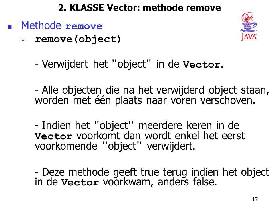 2. KLASSE Vector: methode remove