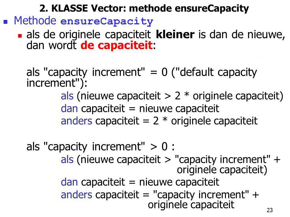 2. KLASSE Vector: methode ensureCapacity