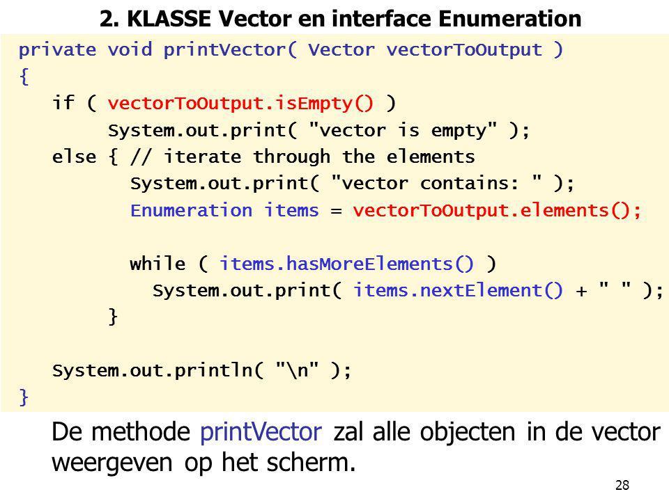 2. KLASSE Vector en interface Enumeration