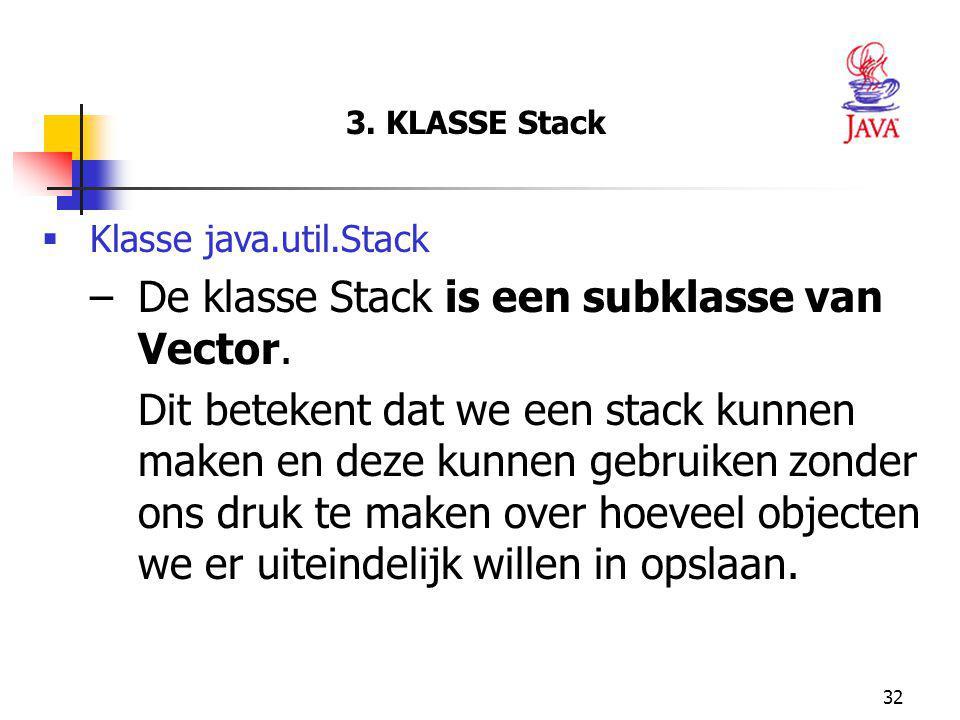 De klasse Stack is een subklasse van Vector.