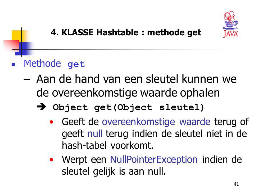 4. KLASSE Hashtable : methode get