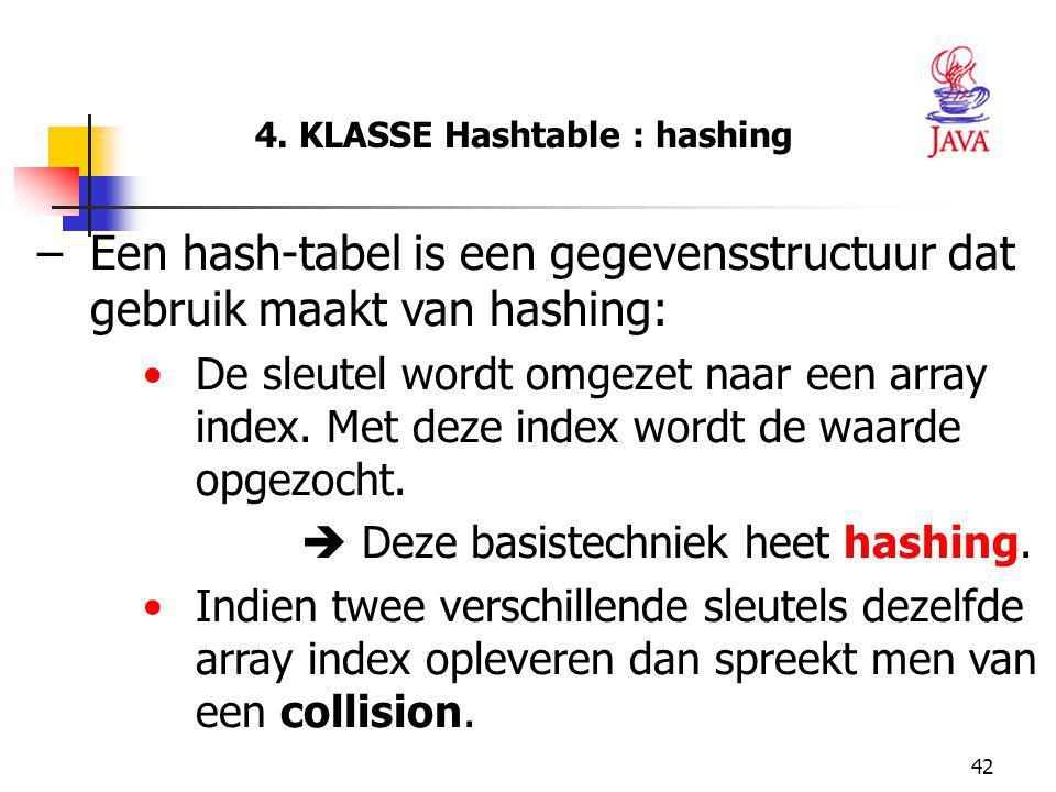 4. KLASSE Hashtable : hashing