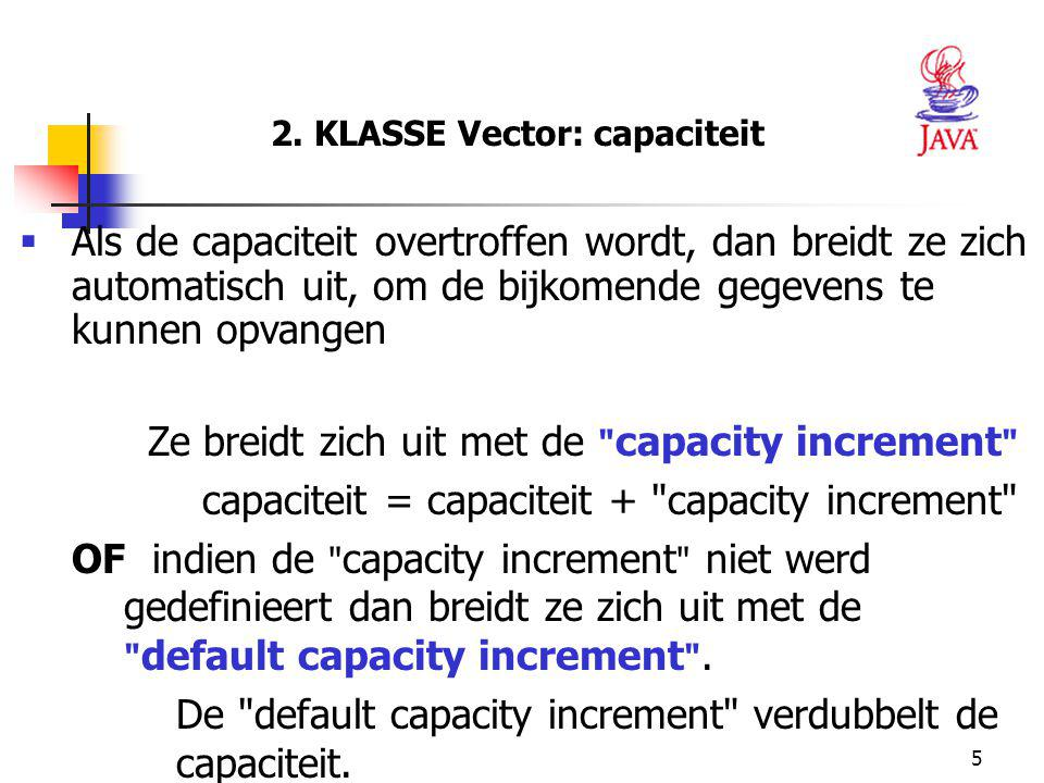 2. KLASSE Vector: capaciteit