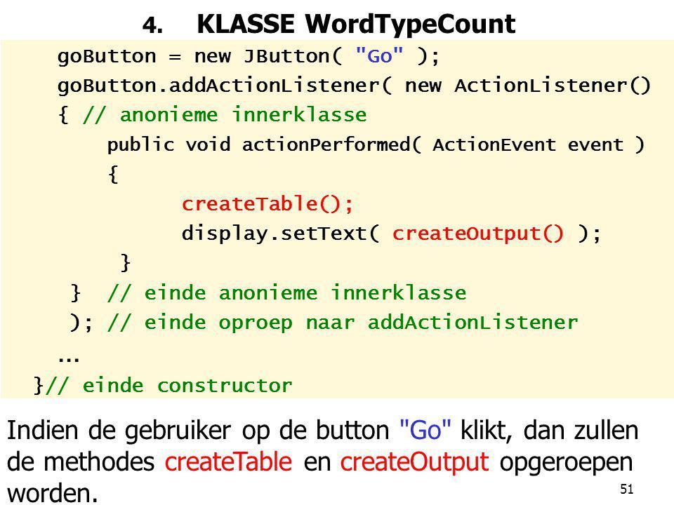 4. KLASSE WordTypeCount goButton = new JButton( Go ); goButton.addActionListener( new ActionListener()