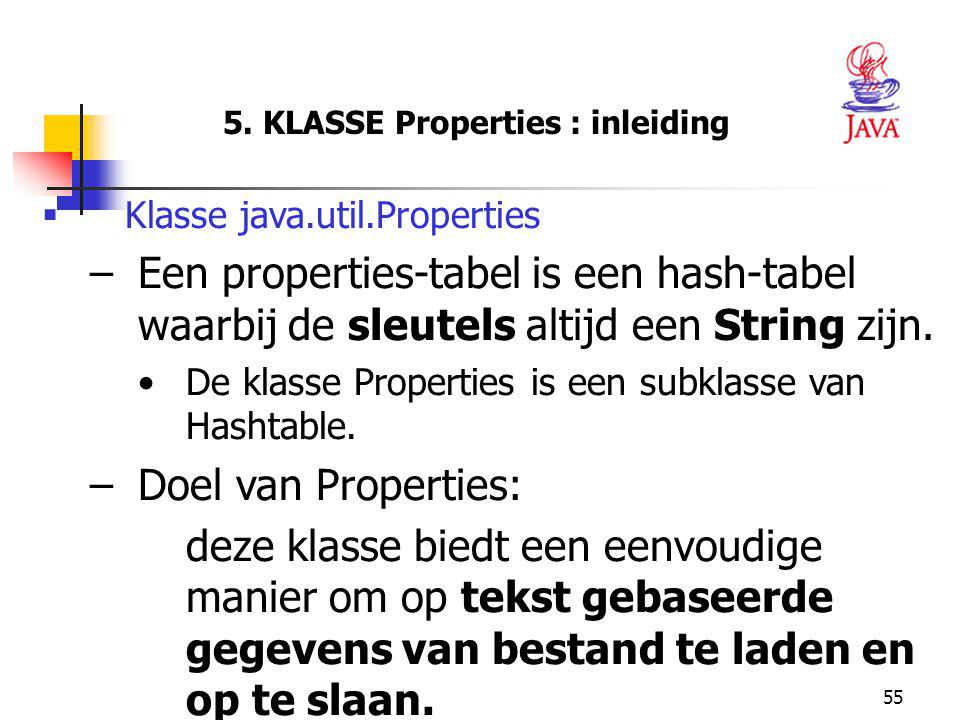 5. KLASSE Properties : inleiding