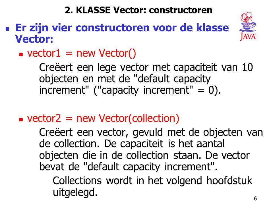 2. KLASSE Vector: constructoren