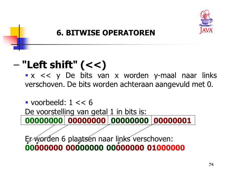 Left shift (<<) 6. BITWISE OPERATOREN