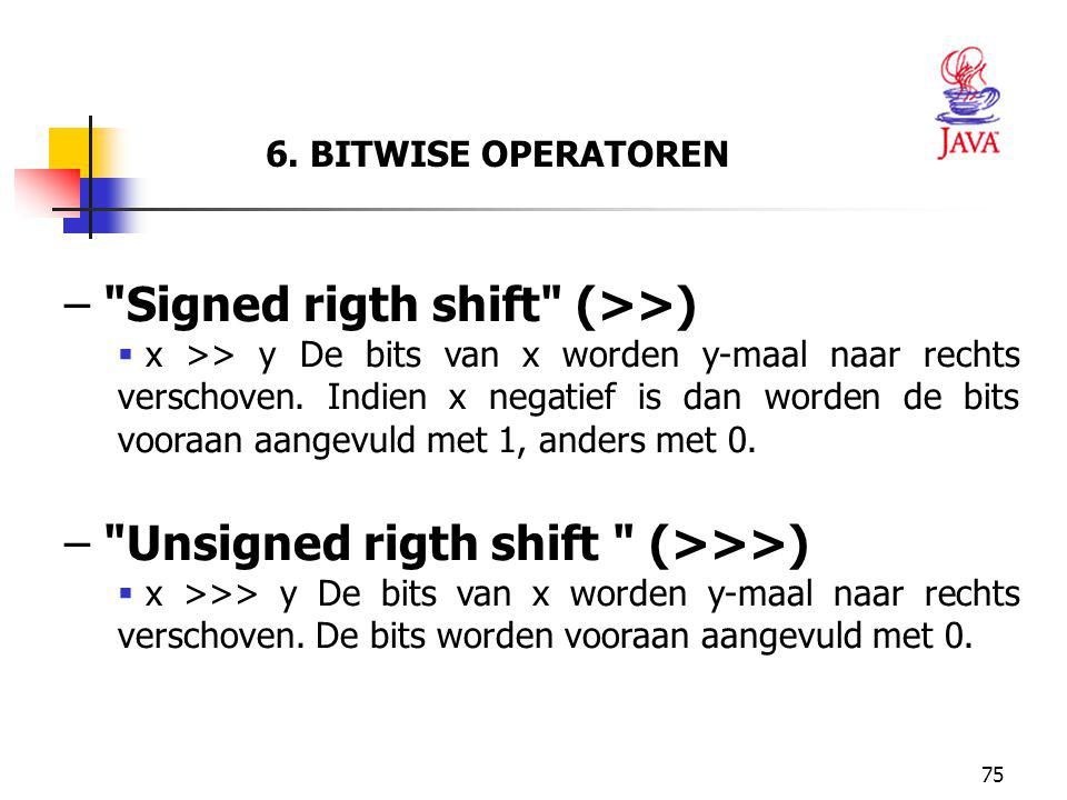 Signed rigth shift (>>)