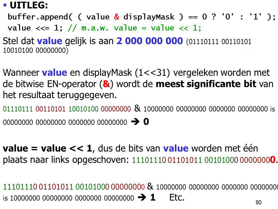 UITLEG: buffer.append( ( value & displayMask ) == 0 0 : 1 ); value <<= 1; // m.a.w. value = value << 1;