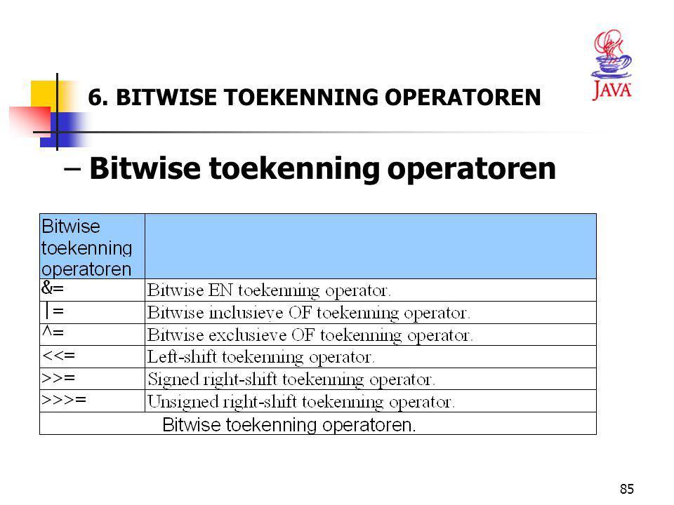 6. BITWISE TOEKENNING OPERATOREN