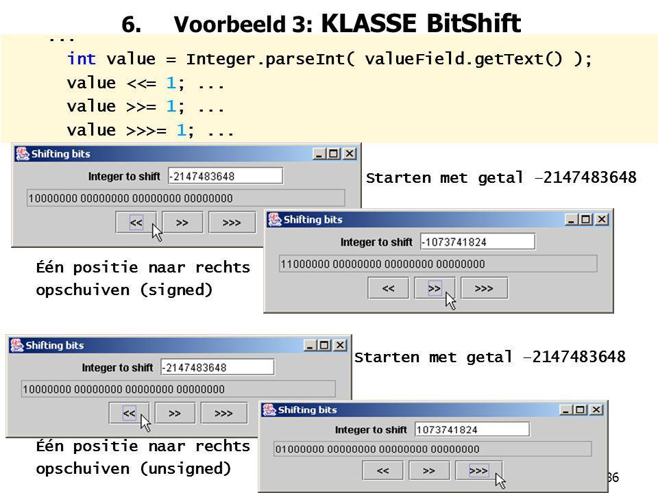 6. Voorbeeld 3: KLASSE BitShift