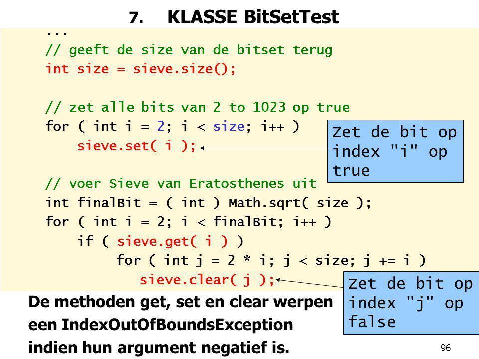De methoden get, set en clear werpen een IndexOutOfBoundsException