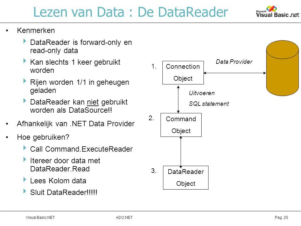 Lezen van Data : De DataReader