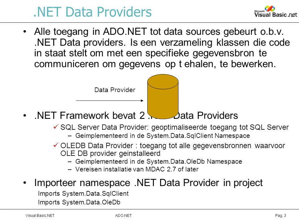 .NET Data Providers