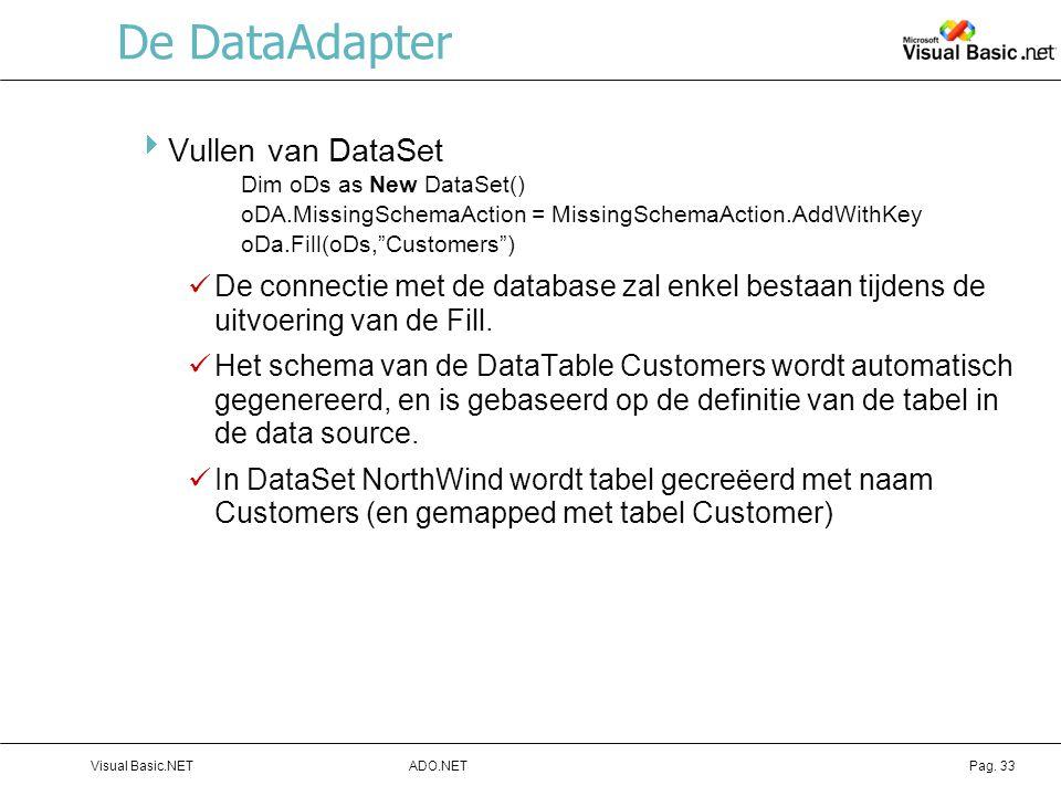 De DataAdapter Vullen van DataSet
