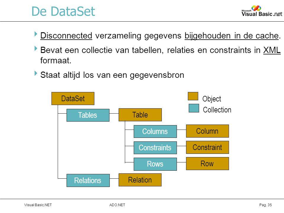 De DataSet Disconnected verzameling gegevens bijgehouden in de cache.