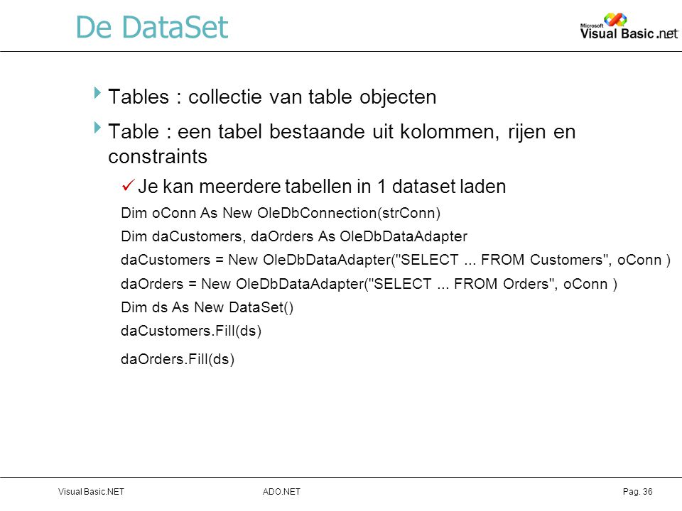 De DataSet Tables : collectie van table objecten