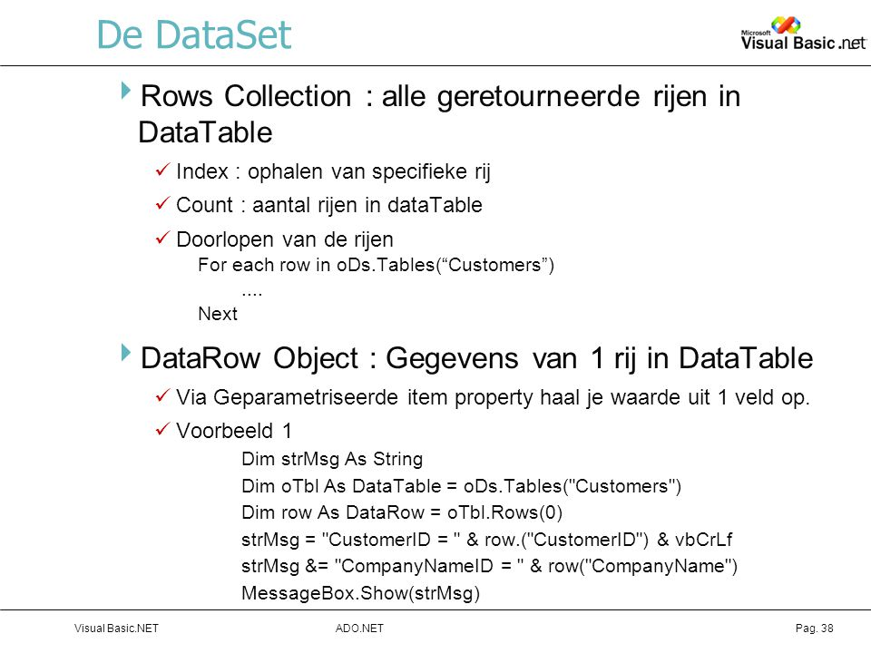 De DataSet Rows Collection : alle geretourneerde rijen in DataTable
