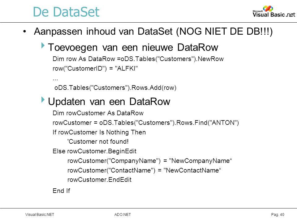 De DataSet Toevoegen van een nieuwe DataRow Updaten van een DataRow