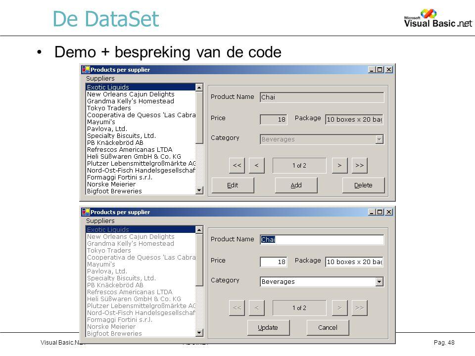 De DataSet Demo + bespreking van de code Visual Basic.NET