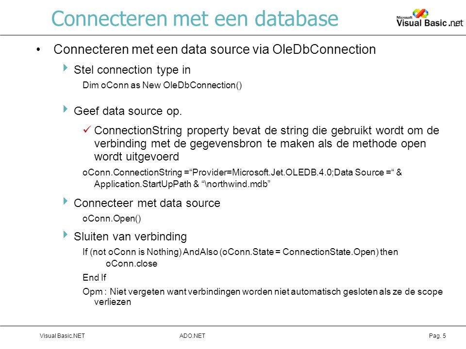 Connecteren met een database