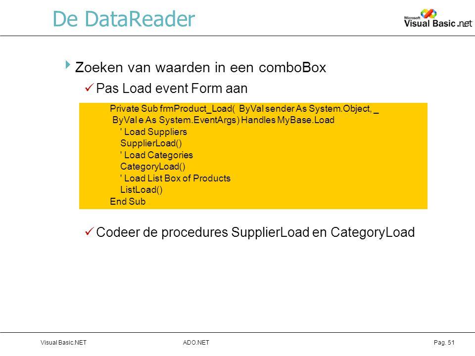 De DataReader Zoeken van waarden in een comboBox