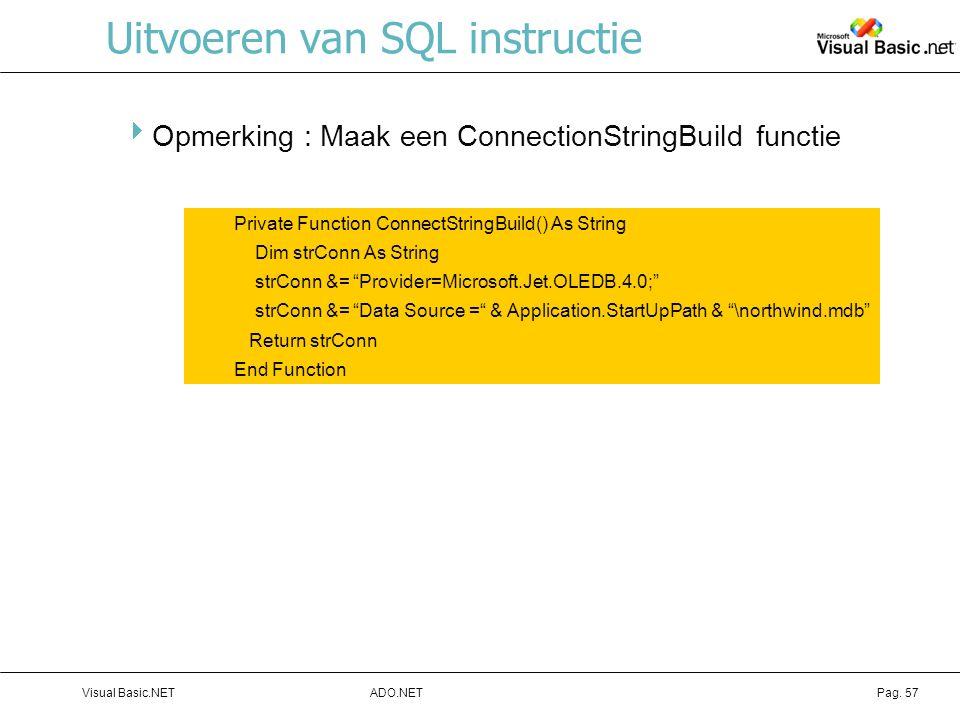 Uitvoeren van SQL instructie
