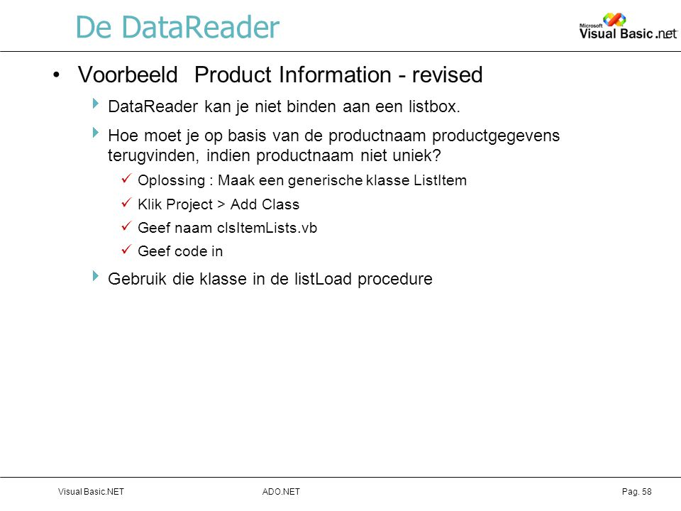 De DataReader Voorbeeld Product Information - revised