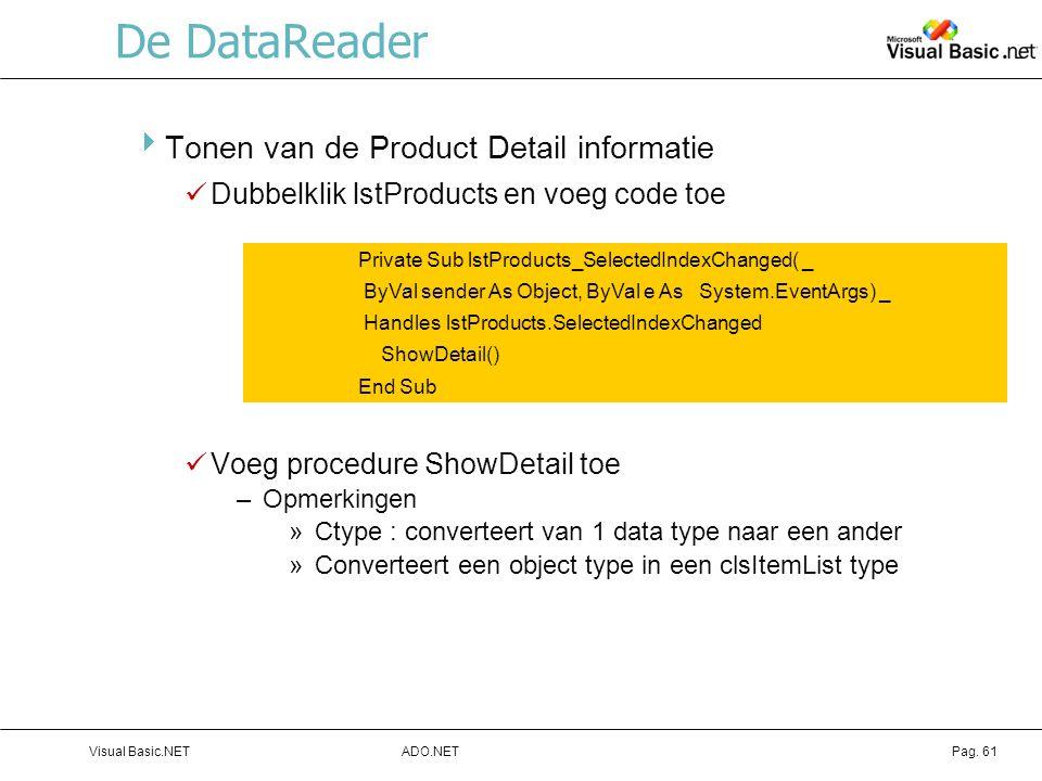 De DataReader Tonen van de Product Detail informatie