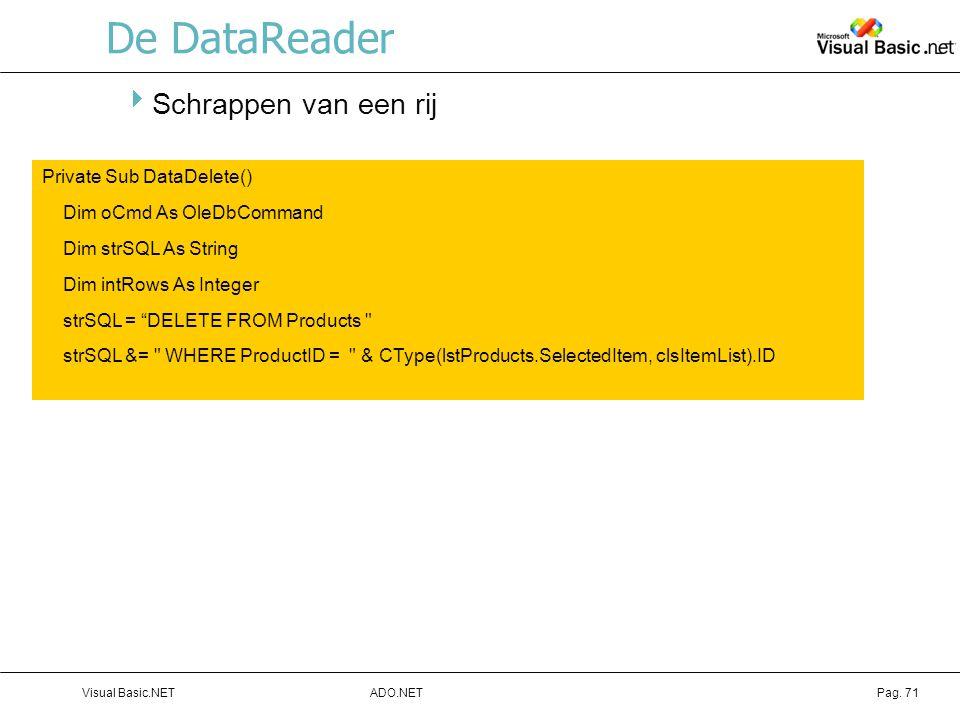 De DataReader Schrappen van een rij Private Sub DataDelete()