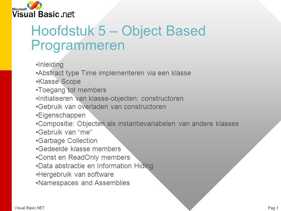 Hoofdstuk 5 – Object Based Programmeren