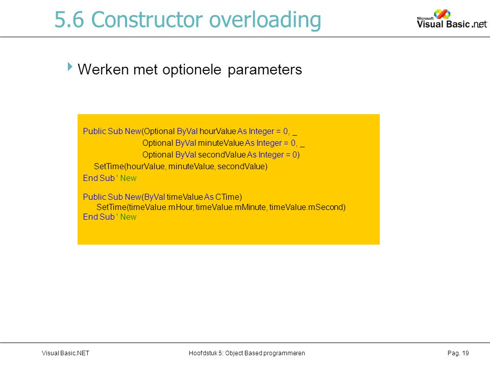 5.6 Constructor overloading