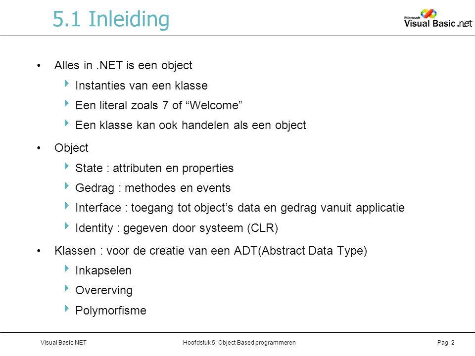 5.1 Inleiding Alles in .NET is een object Instanties van een klasse