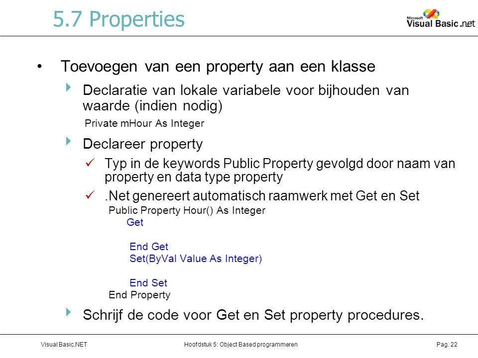 5.7 Properties Toevoegen van een property aan een klasse