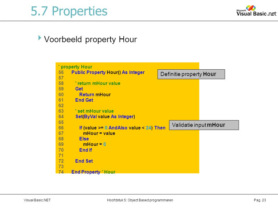 5.7 Properties Voorbeeld property Hour Definitie property Hour