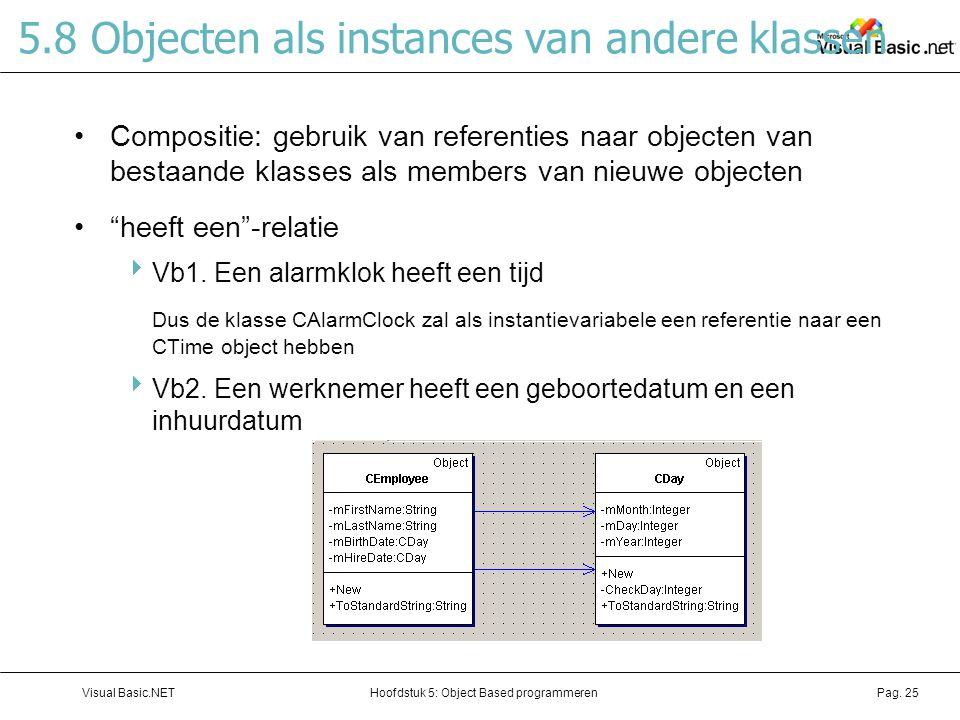 5.8 Objecten als instances van andere klassen