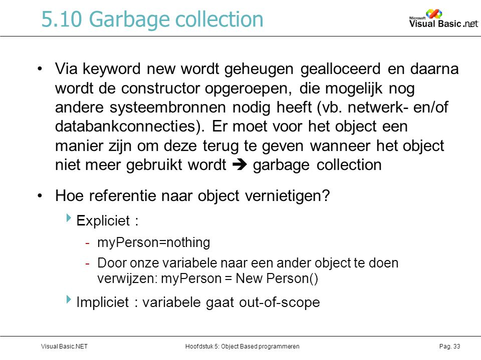 5.10 Garbage collection