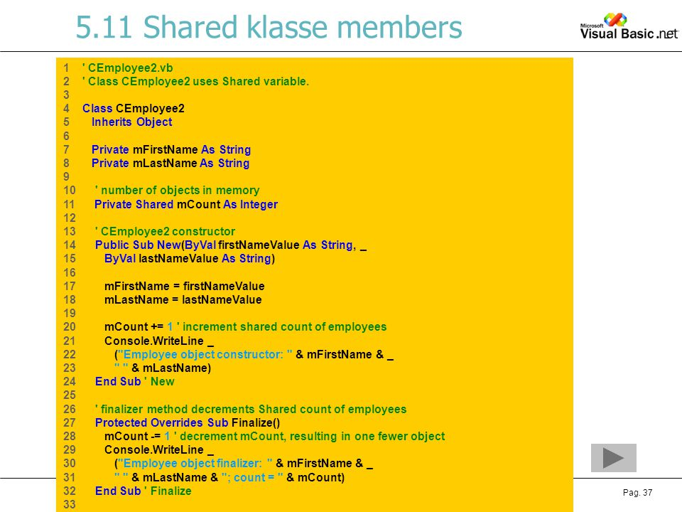 5.11 Shared klasse members 1 CEmployee2.vb
